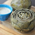 Steamed Artichokes with Creamy Dijon Sauce